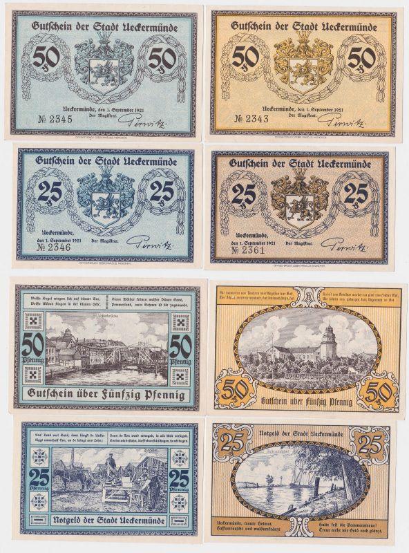 4 Banknoten Notgeld Stadt Ueckermünde 1.September 1921 (115702)