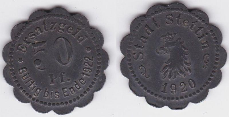 50 Pfennig Zink Münze Ersatzgeld Notgeld Stadt Stettin 1920 (123573)
