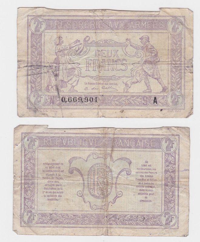 2 Francs Banknote Frankreich Trésorerie aux armées 1917  (124826)