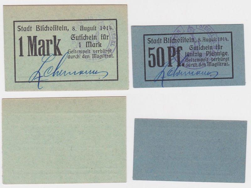 50 Pfennig und 1 Mark Banknoten Notgeld Stadt Bischoffstein 8.8.1914 (124816)
