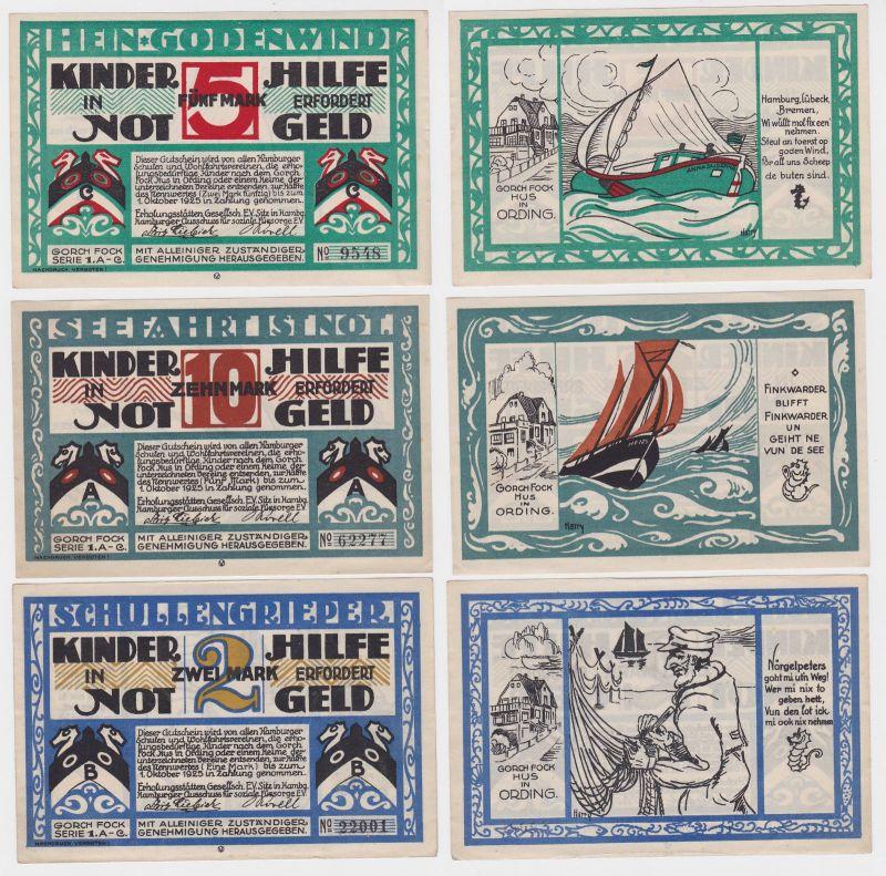 3 Banknoten Notgeld Hamburg Kinderhilfe ohne Datum  (121141)