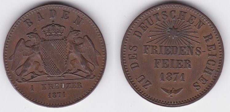 1 Kreuzer Bronze Münze Baden 1871 (123702)