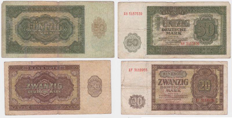 20 und 50 Mark Banknote DDR Deutsche Notenbank 1948 (104939)