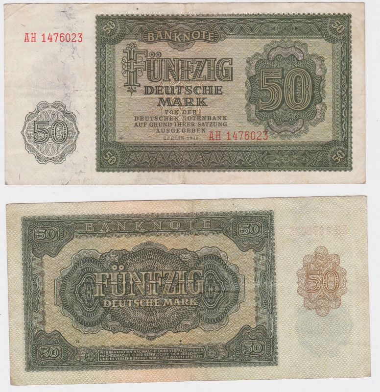 50 Mark Banknote DDR Deutsche Notenbank 1948 (105764)