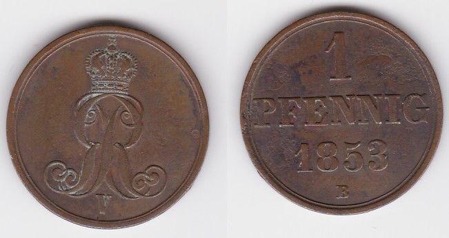1 Pfennig Kupfer Münze Hannover 1853 B (123694)