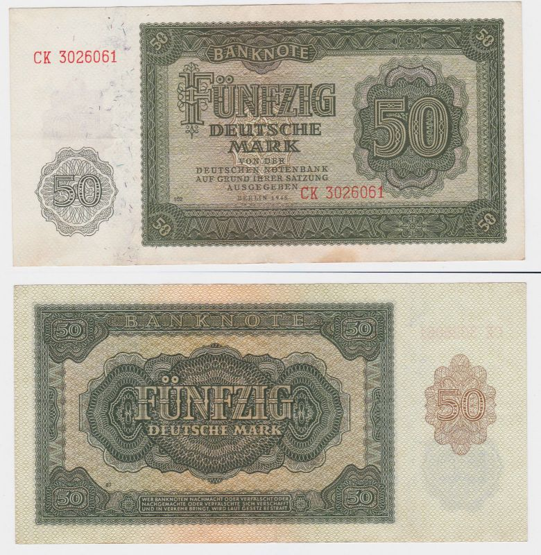 50 Mark Banknote DDR Deutsche Notenbank 1948 (107490)