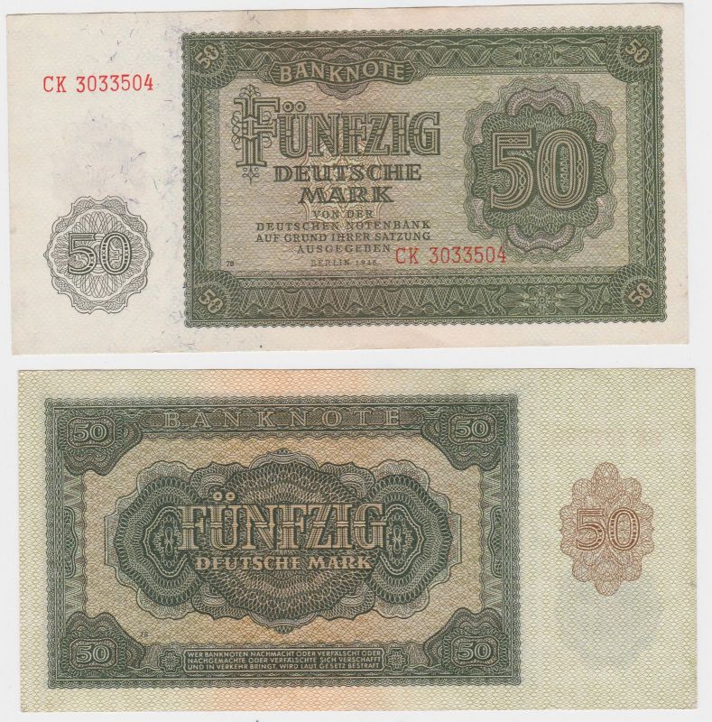 50 Mark Banknote DDR Deutsche Notenbank 1948 (105032)