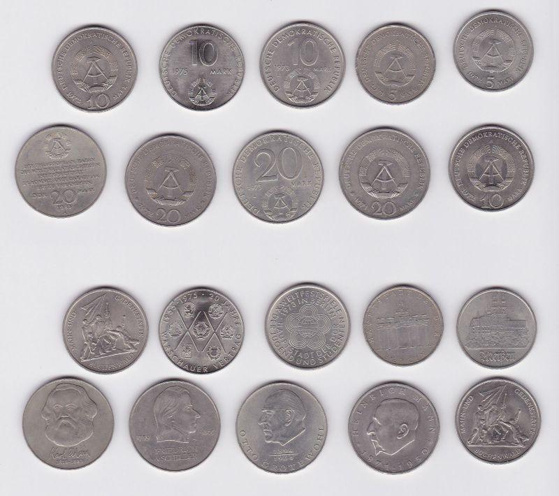 10 DDR Gedenkmünzen 5, 10 und 20 Mark Pieck, Weltfestspiele  usw. (121244)