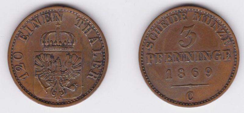 3 Pfennige Kupfer Münze Preussen 1869 C (122773)