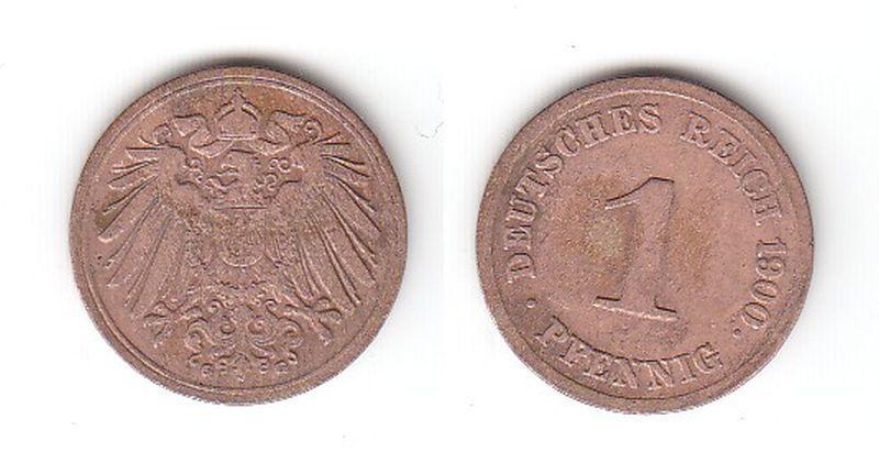 1 Pfennig Kupfer Münze Kaiserreich 1900 G Jäger Nr.10 (112768)