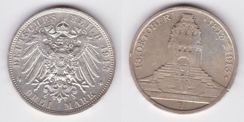 3 Mark Silber Münze Sachsen Völkerschlachtdenkmal Leipzig 1913 (121444)