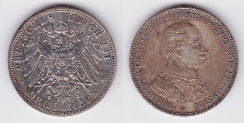3 Mark Silber Münze Preussen Kaiser Wilhelm II in Uniform 1914 (122491)