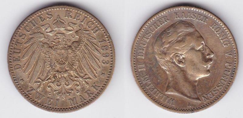 2 Mark Silbermünze Preussen Kaiser Wilhelm II 1893 Jäger 102  (123835)