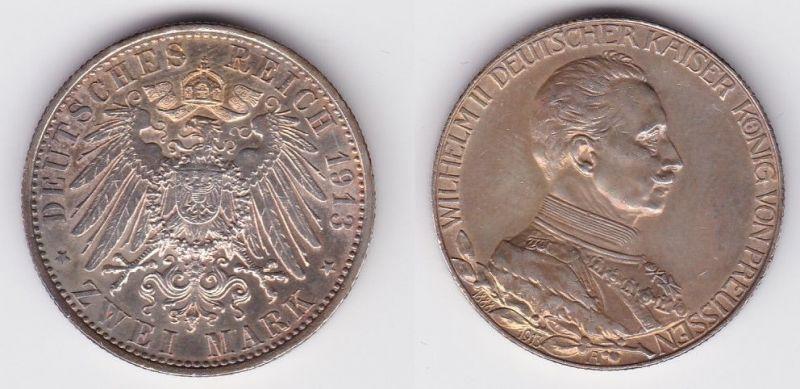 2 Mark Silbermünze Preussen Kaiser in Uniform 1913 Jäger 111 (124735)