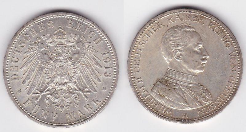 5 Mark Silbermünze Preussen Wilelm II in Uniform 1913 Jäger 114  (123409)