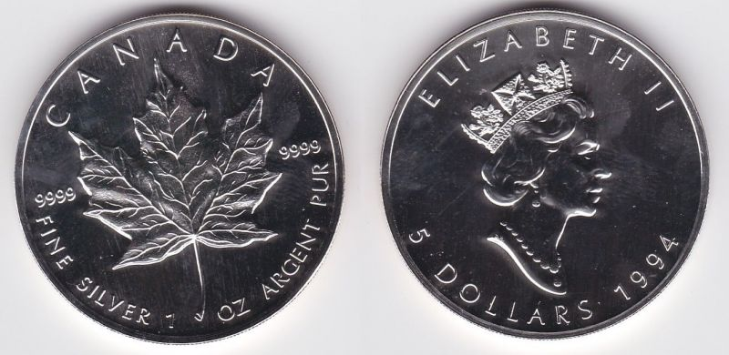 5 Dollar Silber Münze Canada Kanada Maple Leaf 1994 124148 Nr