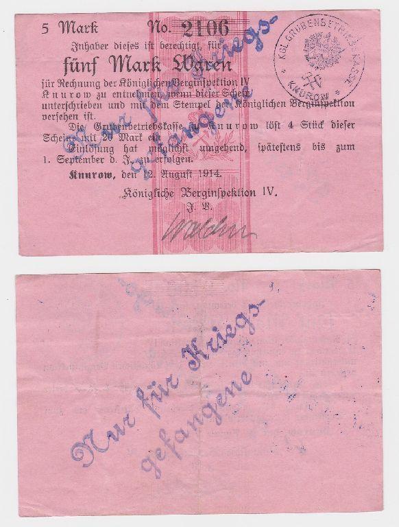 5 Mark Banknote Knurow königliche Berginspektion 1914 (124871)