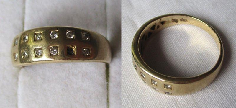 Toller 585er Gold Ring Damenring mit 12 kleinen Diamanten (118599)