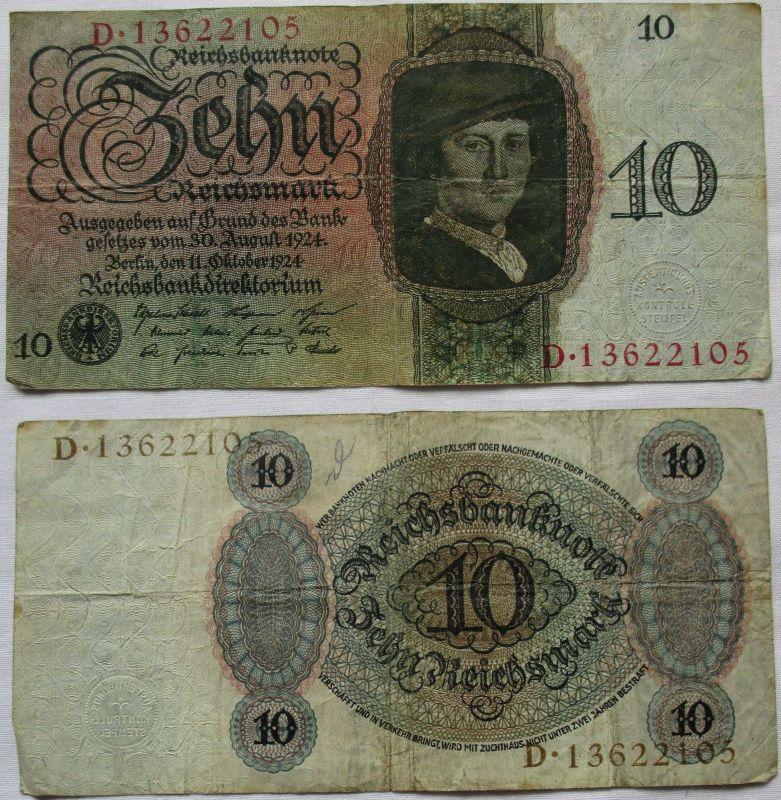 10 Reichsmark Banknote Deutsches Reich 11.10.1924 Rosenberg 168 b (117885)