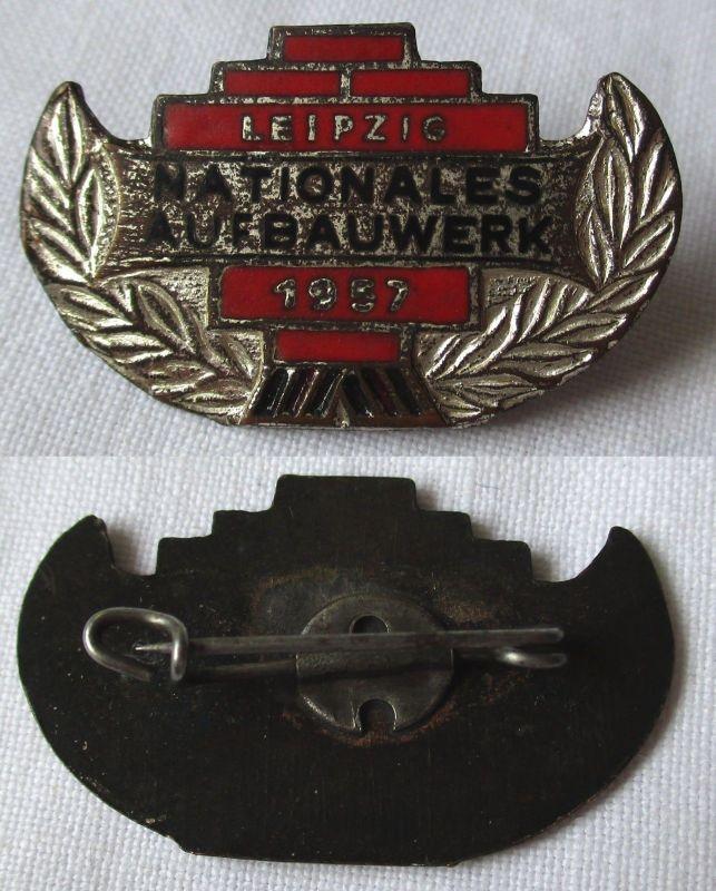 DDR Abzeichen Nationales Aufbauwerk Leipzig 1957 Silber (119382)