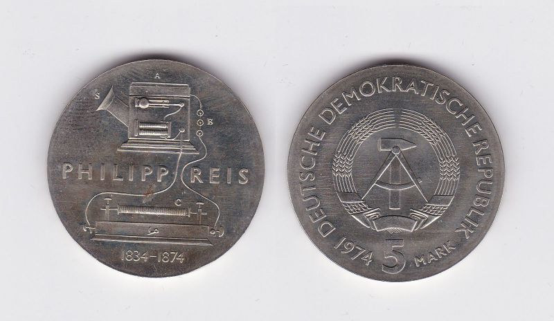 DDR Gedenk Münze 5 Mark Philipp Reis 1974 (115296)