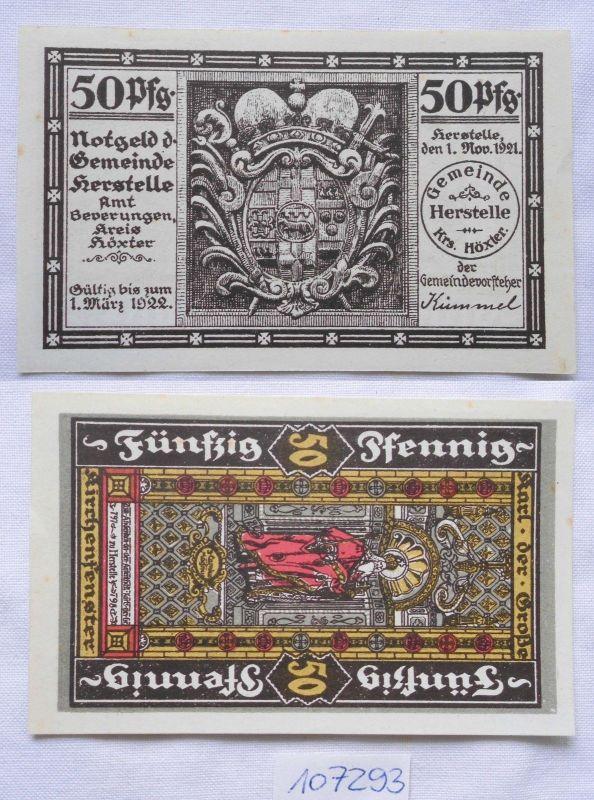 50 Pfennig Banknote Notgeld Herstelle Kreis Höxter 1921 (107293)