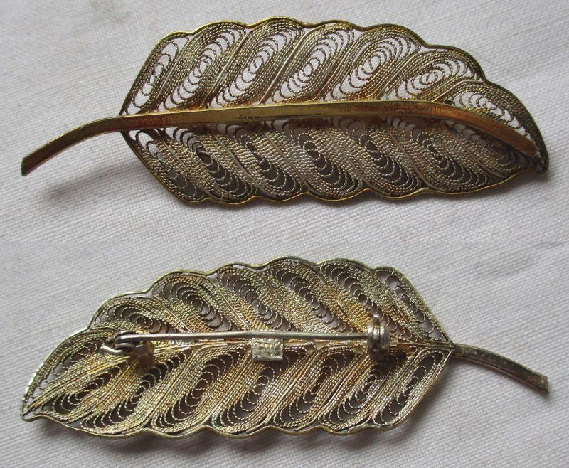 Fantastische Brosche 925er Silber teilvergoldet als Feder oder Blatt (113620)