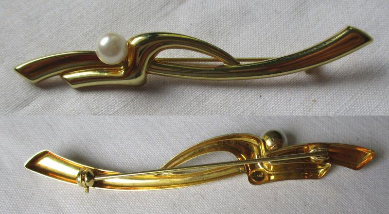 Fantastische Brosche 333er Gold mit kleiner Perle (114668)