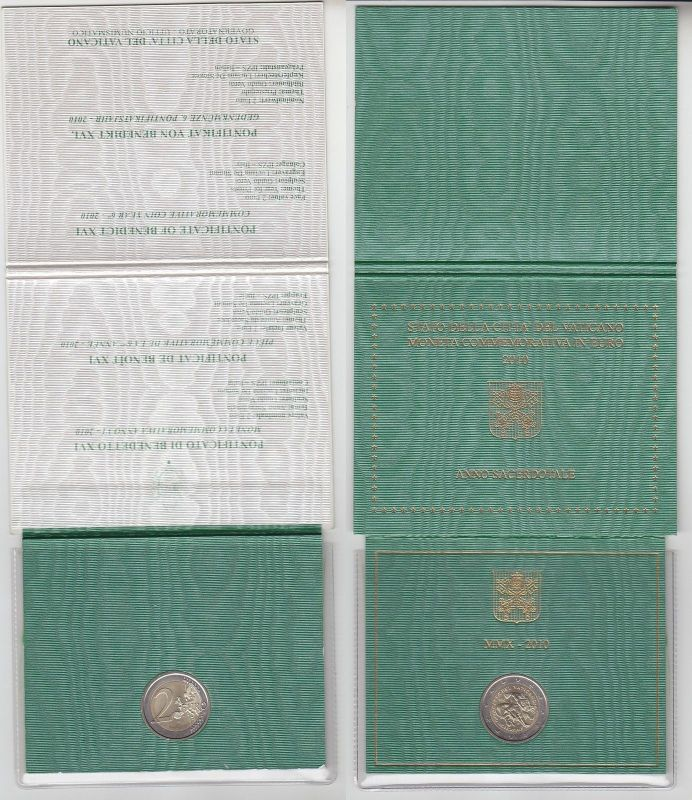 Vatikan 2010 2 Euro Gedenkmünze Benedikt XVI. im Original Folder (111558)