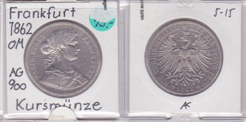 Vereinstaler Silber Münze Frankfurt-Stadt 1862 (121202)