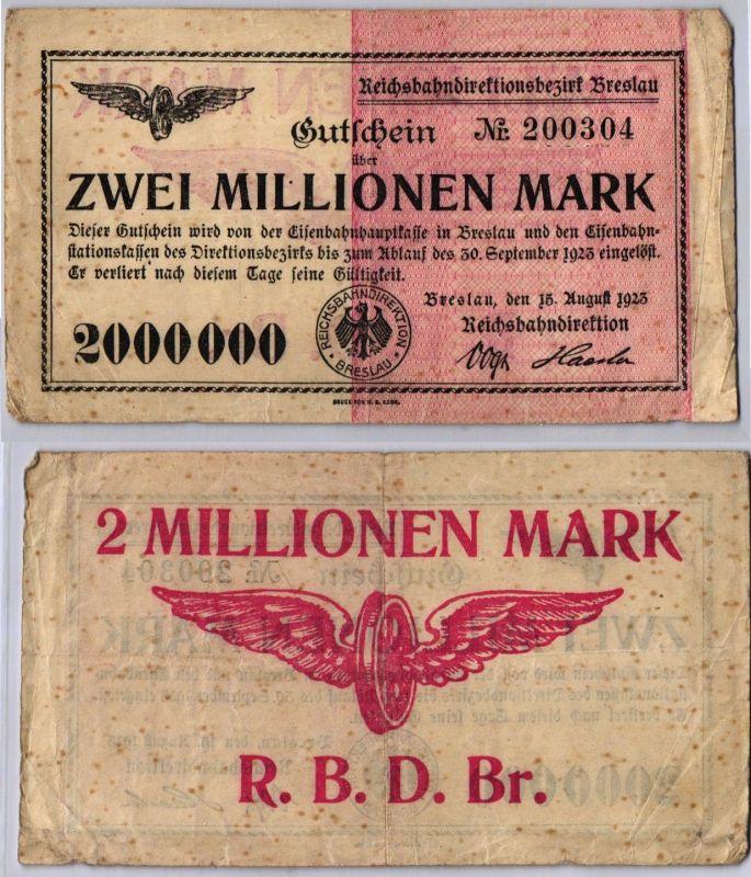 2 Millionen Mark Banknote Reichsbahndirektion Breslau 15.08.1923 (109839)