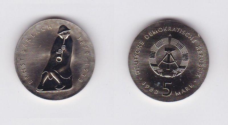 DDR Gedenk Münze 5 Mark Ernst Barlach 1988 (119518)