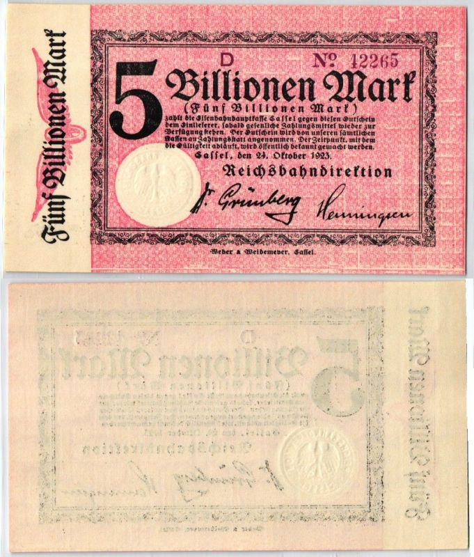 5 Billionen Mark Banknote Reichsbahndirektion Cassel 24.10.1923 (108432)