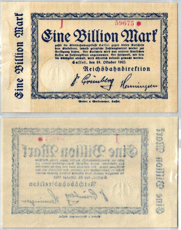1 Billion Mark Banknote Reichsbahndirektion Cassel 24.10.1923 (106214)