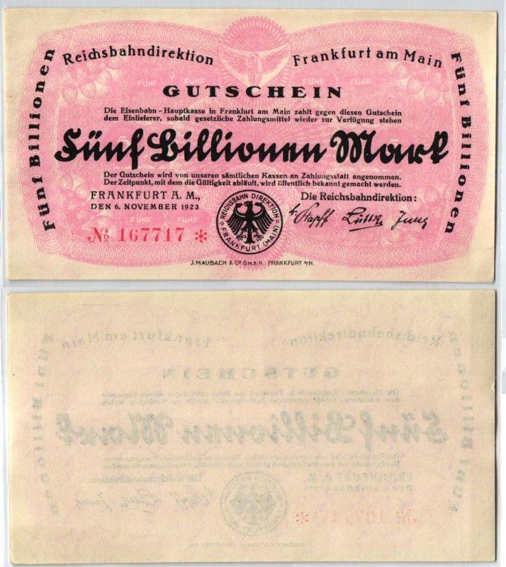 5 Billionen Mark Banknote Reichsbahndirektion Frankfurt a.M. 06.11.1923 (108984)