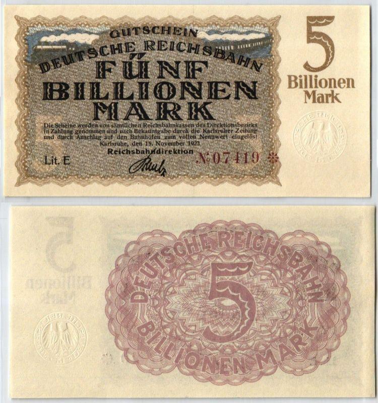 5 Billion Mark Banknote Reichsbahndirektion Karlsruhe 15.10.1923 (108813)