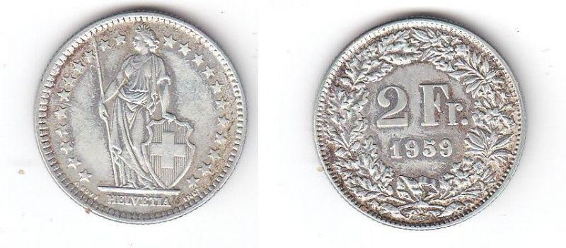2 Franken Silber Münze Schweiz 1959 B (113919)