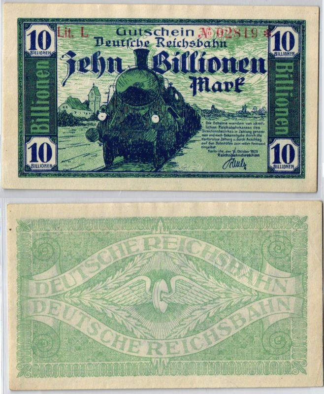 10 Billion Mark Banknote Reichsbahndirektion Karlsruhe 16.10.1923 (103553)