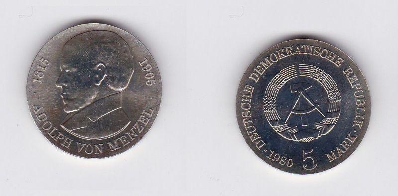 DDR Gedenk Münze 5 Mark Adolph von Menzel 1980 (119734)