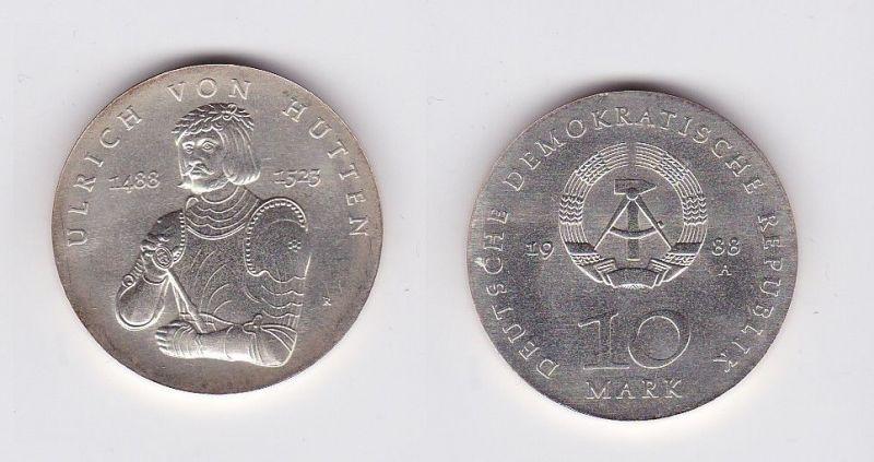 DDR Gedenk Münze 10 Mark Ullrich von Hutten 1988 (119639)