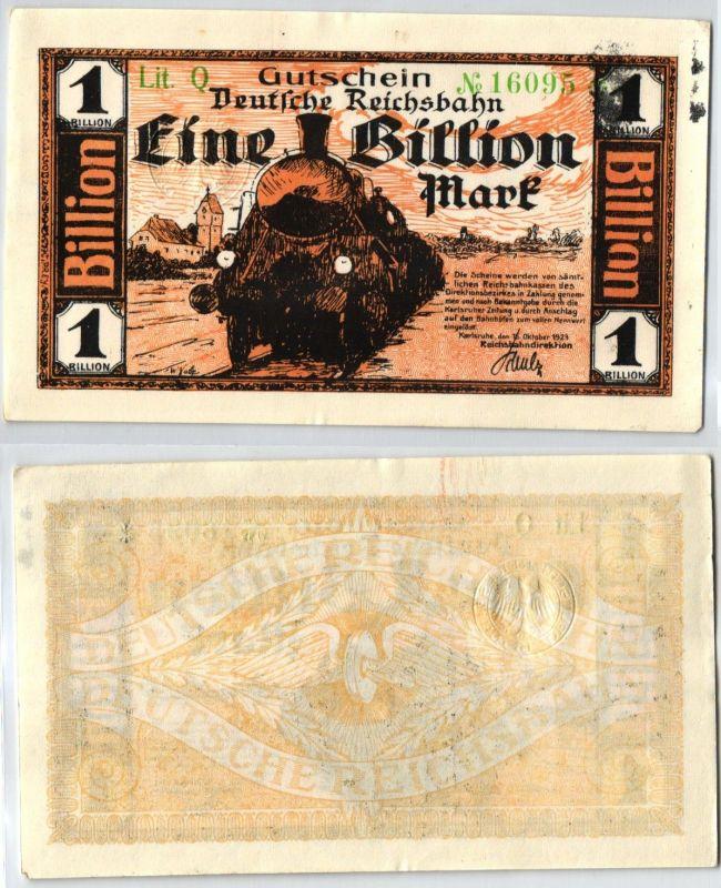 1 Billion Mark Banknote Reichsbahndirektion Karlsruhe 16.10.1923 (104803)