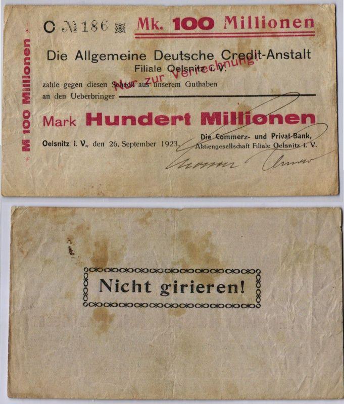 100 Millionen Mark Banknote ADCA Filiale Ölsnitz i.V. 26.09.1923 (109825)