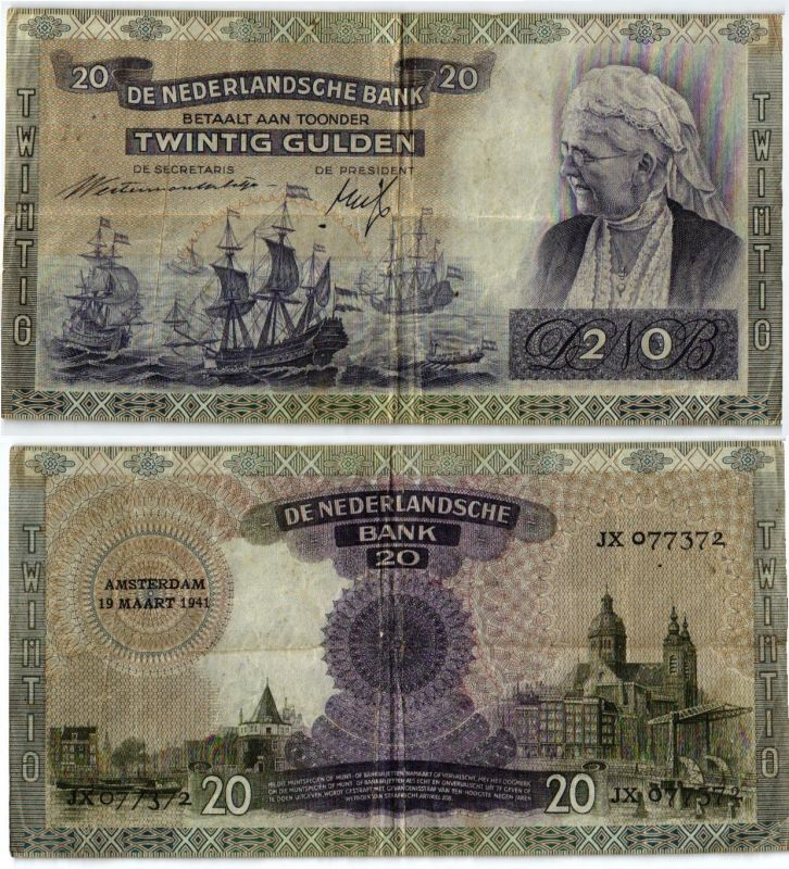 20 Gulden Banknote Niederlande 19.03.1941 (103895)