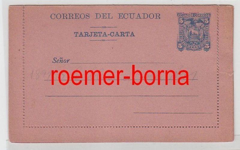 73355 seltene Ganzsachen Brief Ecuador 5 Centavos Blau auf Rosa 1891