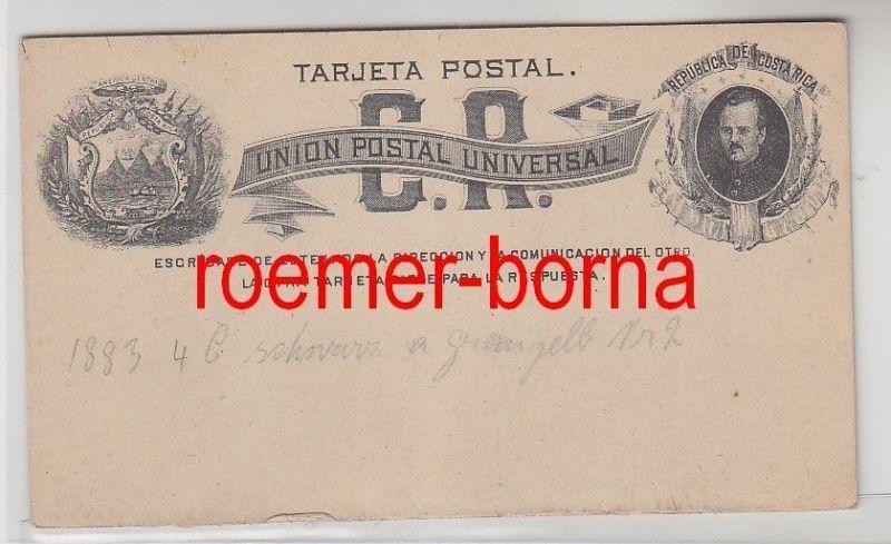 73146 seltene Antwort Ganzsachen Postkarte Costa Rica 4 C. Schwarz Graugelb 1883