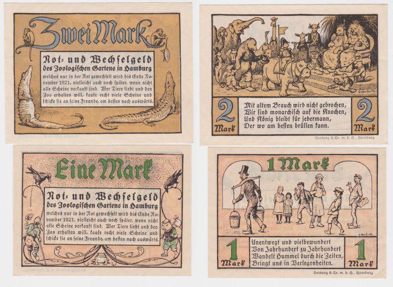2 Banknoten Notgeld Hamburg Zoologischer Garten 1921 (114451)