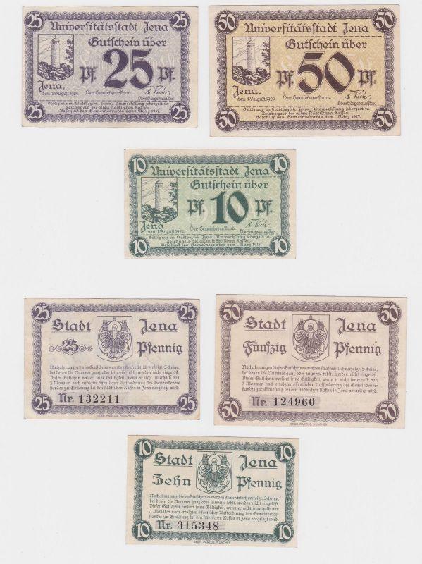 3 Banknoten Notgeld Universitätsstadt Jena 1917 (120504)
