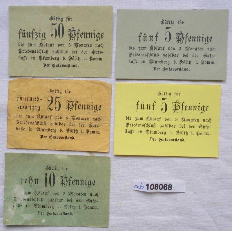5 Banknoten Notgeld Blumberg bei Dölitz in Pommern (108068)