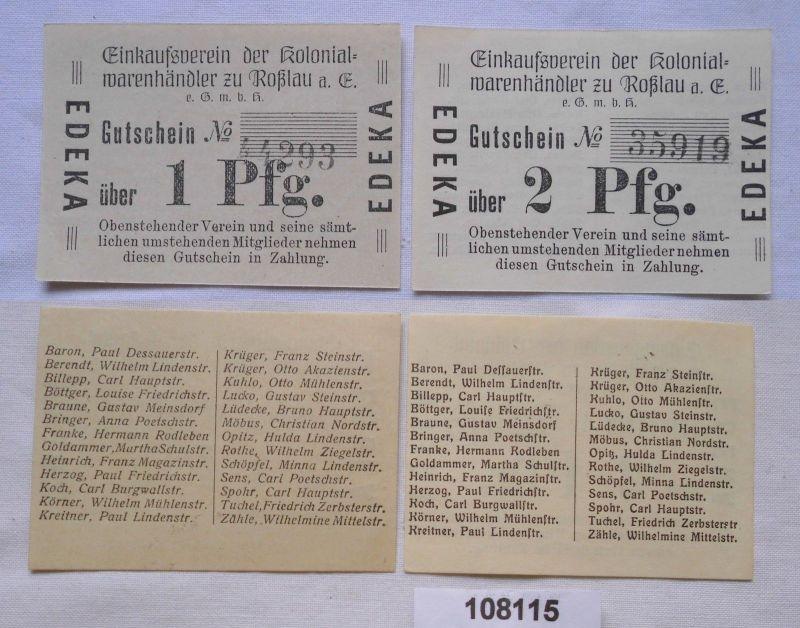 1 und 2 Pfennig Banknoten Notgeld Einkaufsverein Roßlau a.E. (108115)