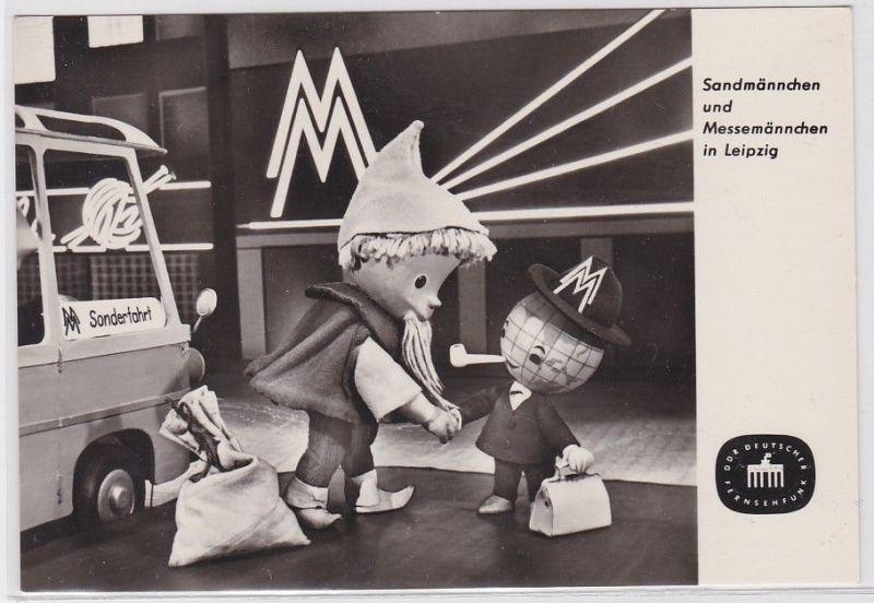 90058 Ak Sandmännchen und Messemännchen in Leipzig Fernsehfunk der DDR 1965